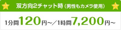 双方向チャット時(双方にカメラを映す場合)1分間120円〜/1時間7,200円〜